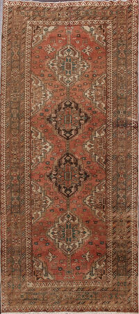 Antique Geometric Heriz Serapi Persian Runner Rug 4x9