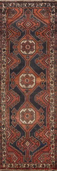 Antique Geometric Bakhtiari Persian Runner Rug 4x10
