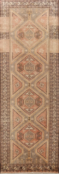 Distressed Tribal Ardebil Persian Runner Rug 4x11