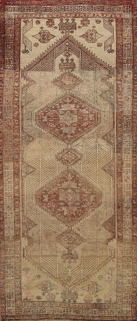 Geometric Antique Meshkin Persian Area Rug 4x8