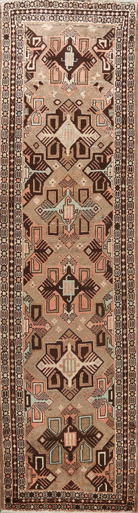 Antique Geometric Bakhtiari Persian Runner Rug 3x10