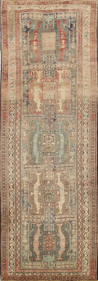 Antique Muted Tribal Ardebil Persian Runner Rug 3x9