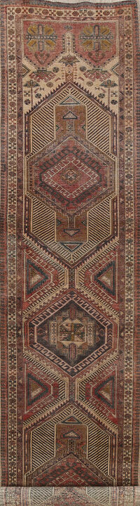 Antique Tribal Ardebil Persian Runner Rug 3x14