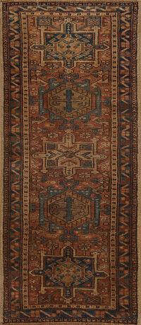 Antique Geometric Gharajeh Persian Runner Rug 2x5