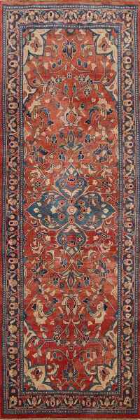 Antique Floral Mahal Persian Runner Rug 4x10
