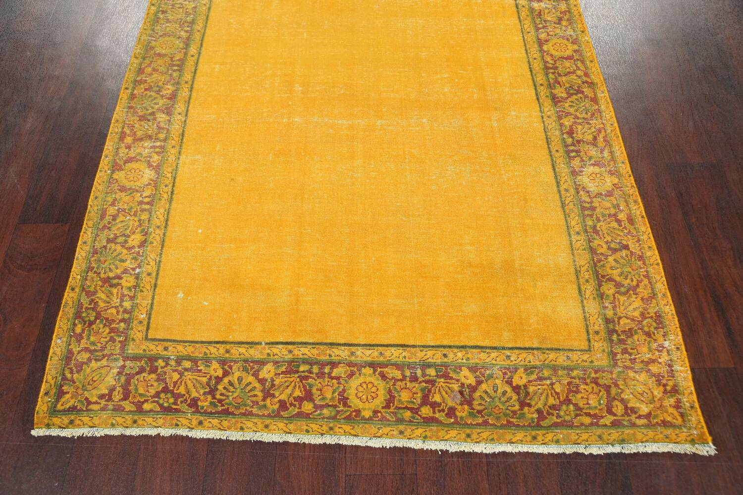 Antique Over-dyed Kerman Persian Runner Rug 4x21 image 8
