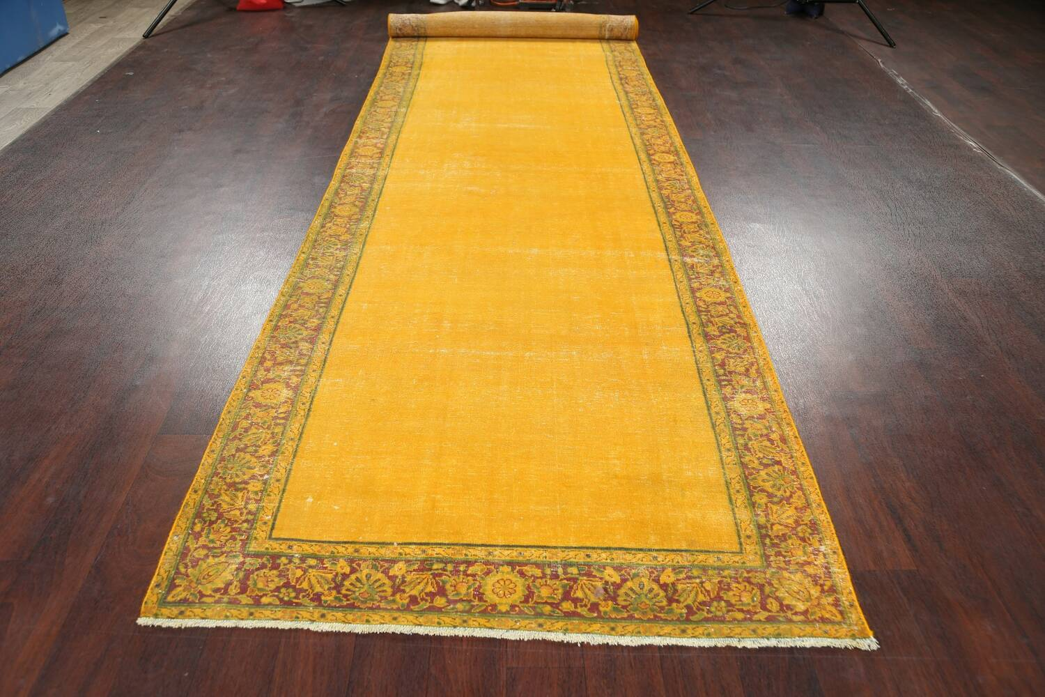 Antique Over-dyed Kerman Persian Runner Rug 4x21 image 15