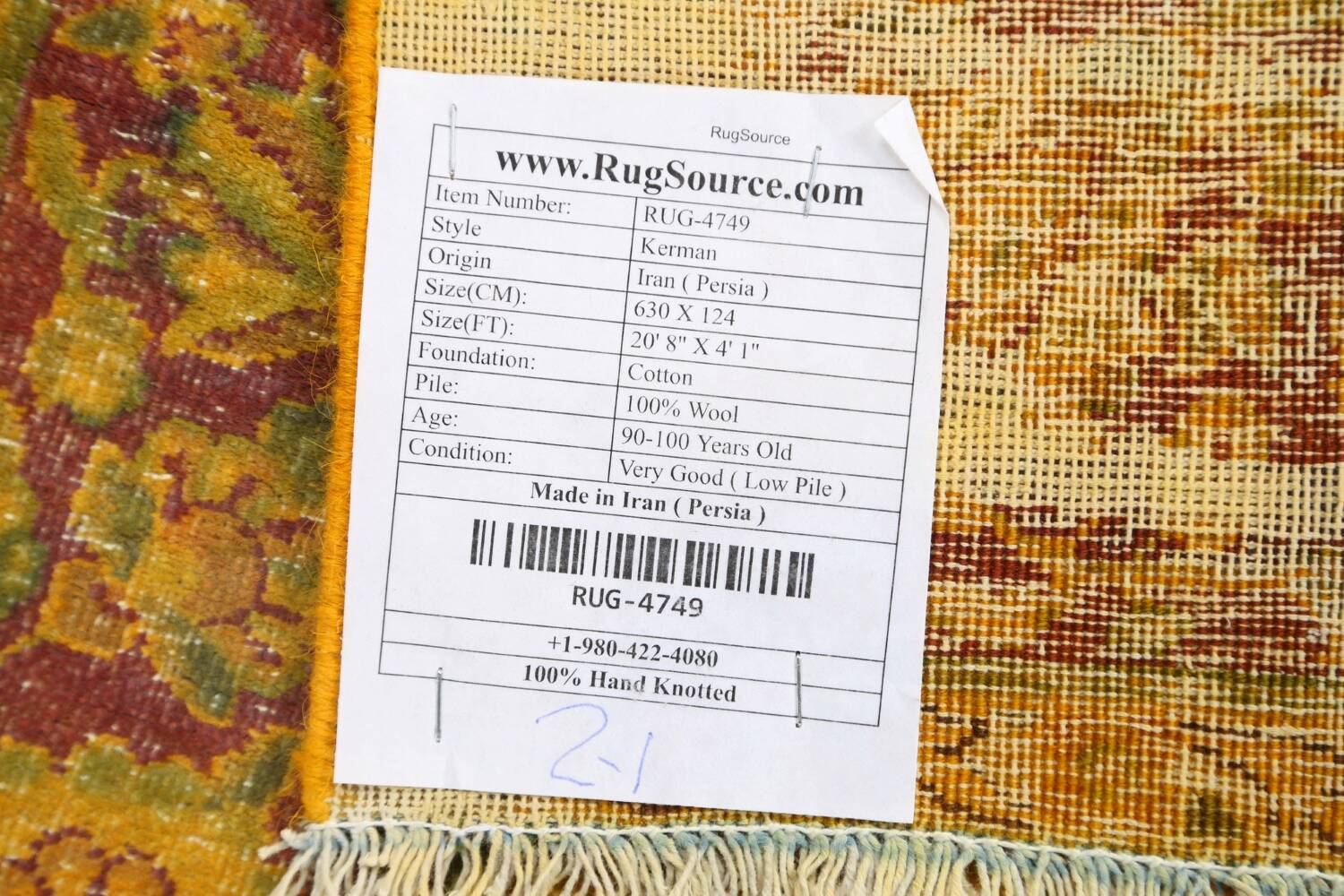 Antique Over-dyed Kerman Persian Runner Rug 4x21 image 21