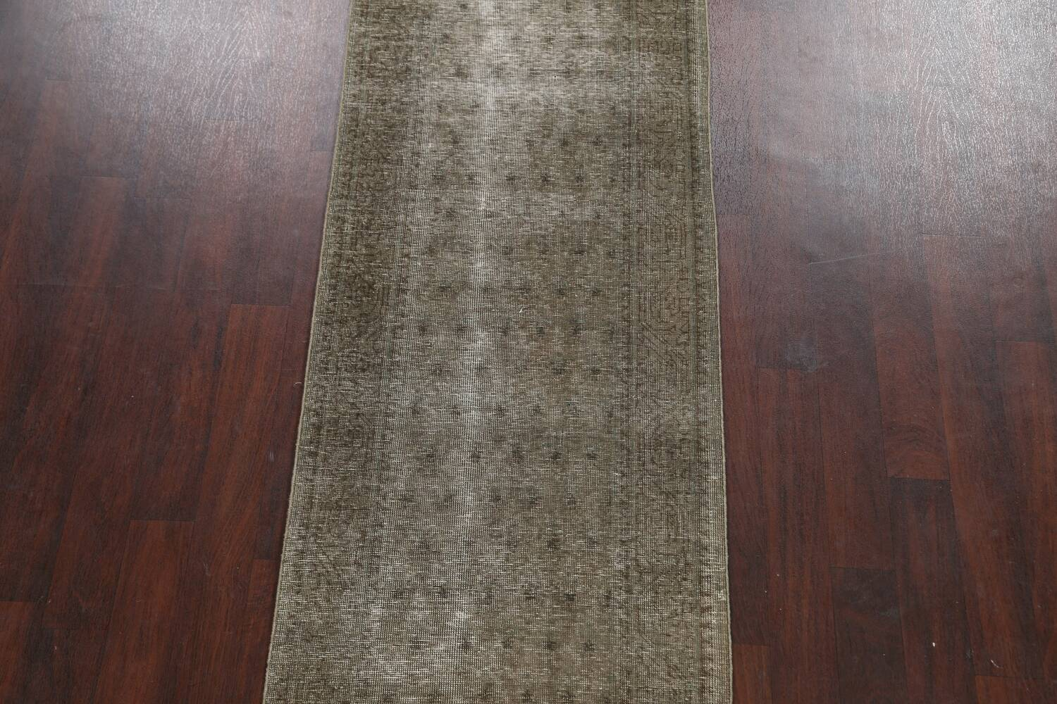 Muted Distressed Tabriz Persian Runner Rug 3x13 image 3