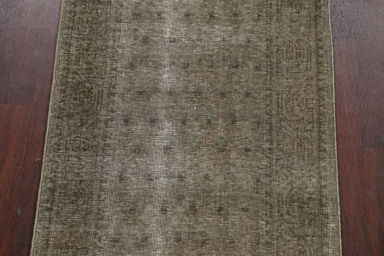 Muted Distressed Tabriz Persian Runner Rug 3x13 image 4