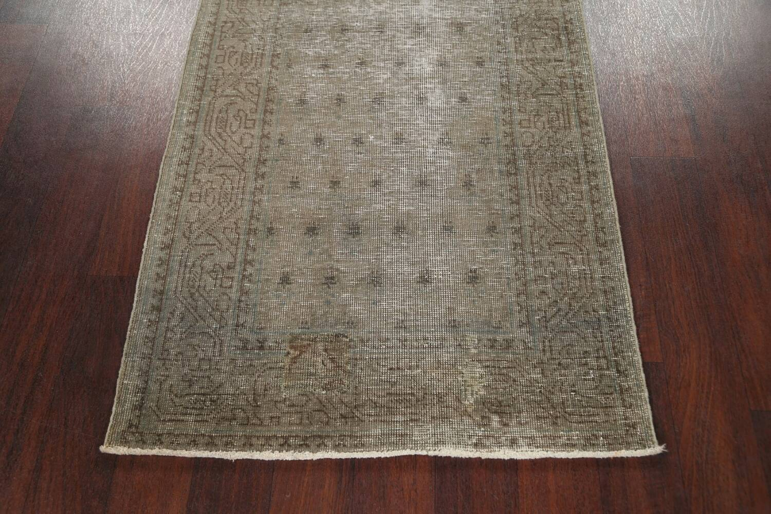 Muted Distressed Tabriz Persian Runner Rug 3x13 image 8