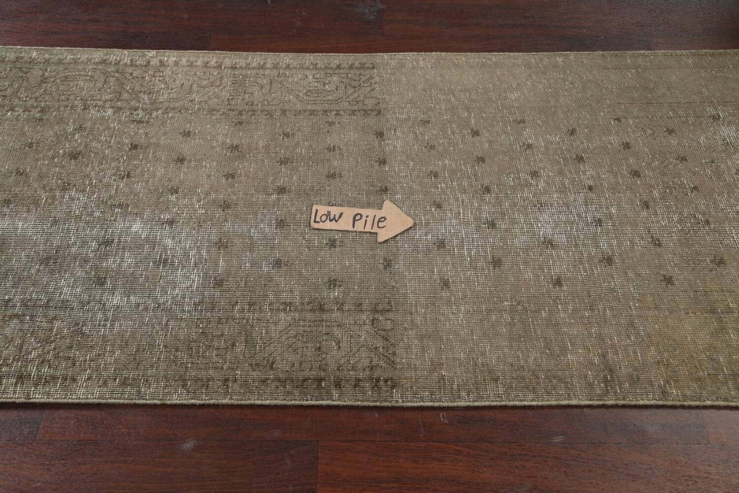 Muted Distressed Tabriz Persian Runner Rug 3x13 image 11