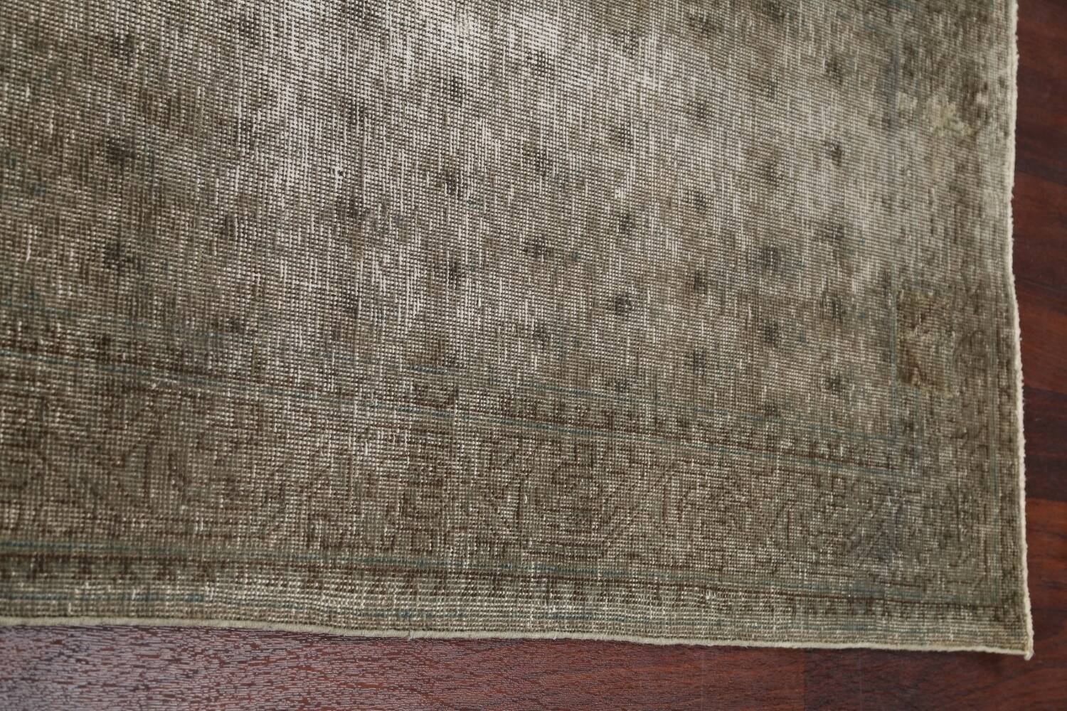 Muted Distressed Tabriz Persian Runner Rug 3x13 image 12