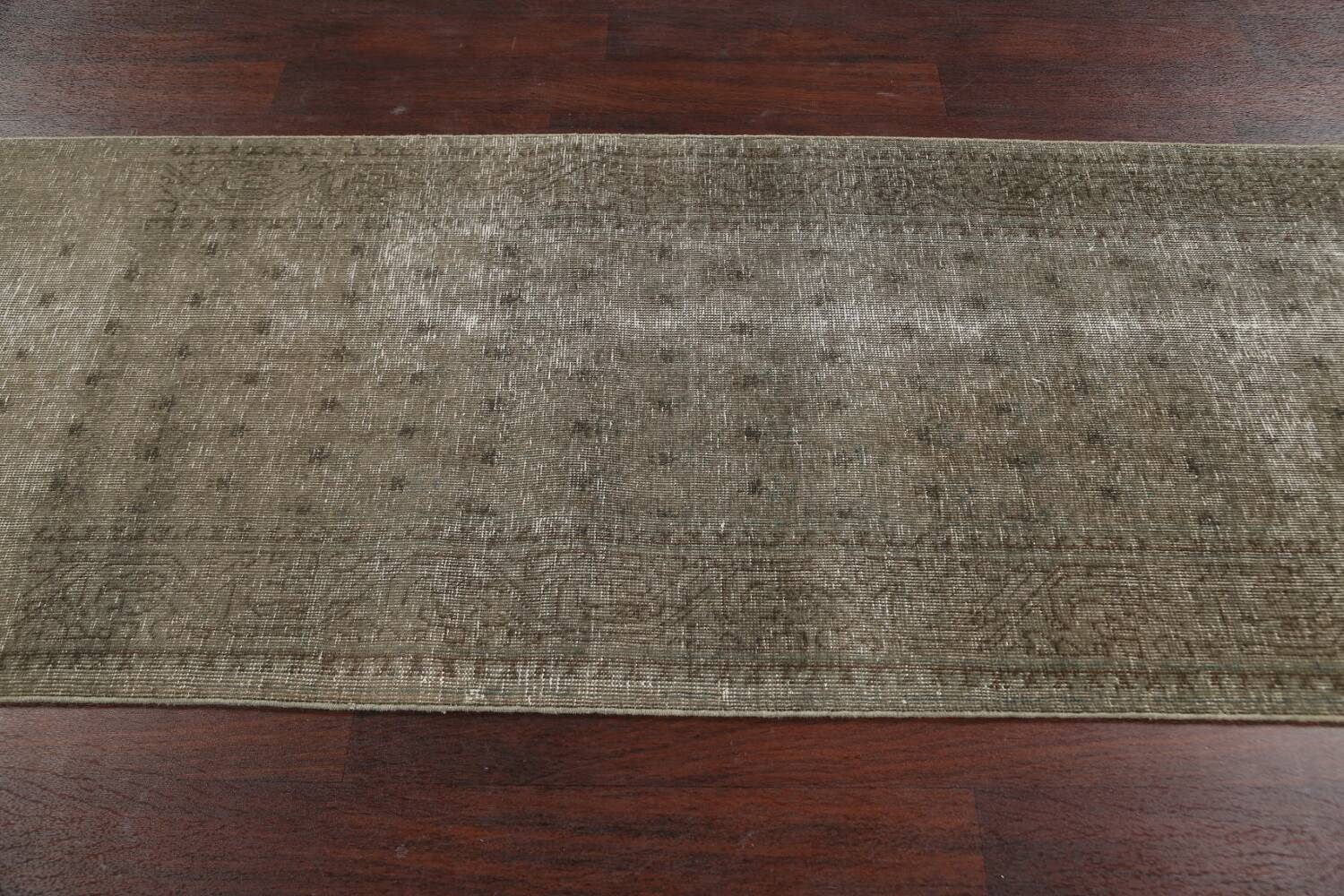 Muted Distressed Tabriz Persian Runner Rug 3x13 image 13