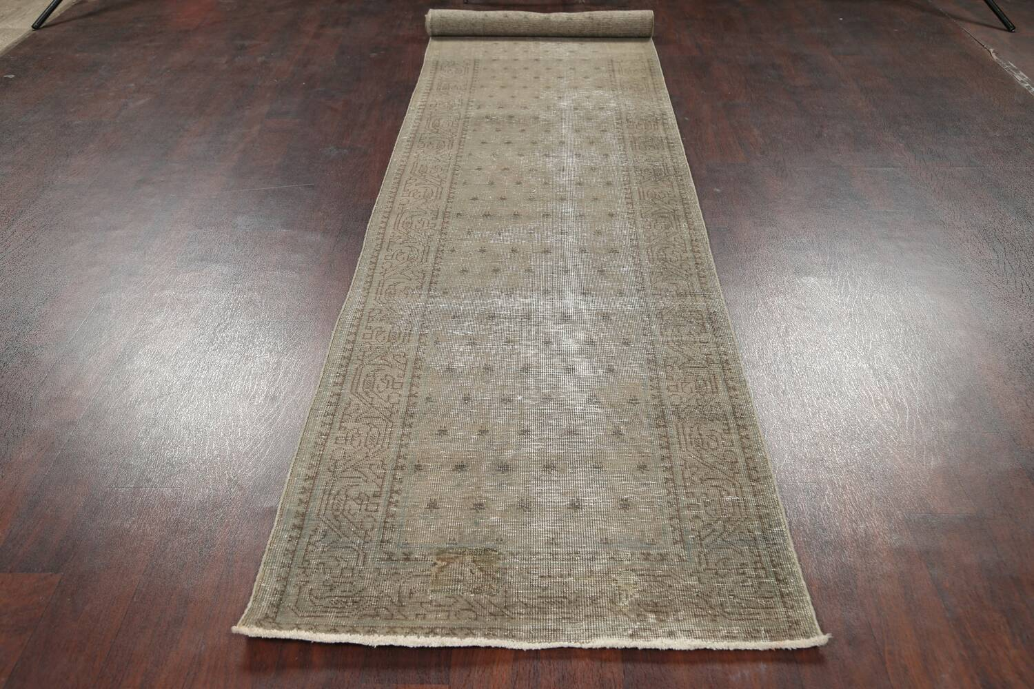 Muted Distressed Tabriz Persian Runner Rug 3x13 image 14