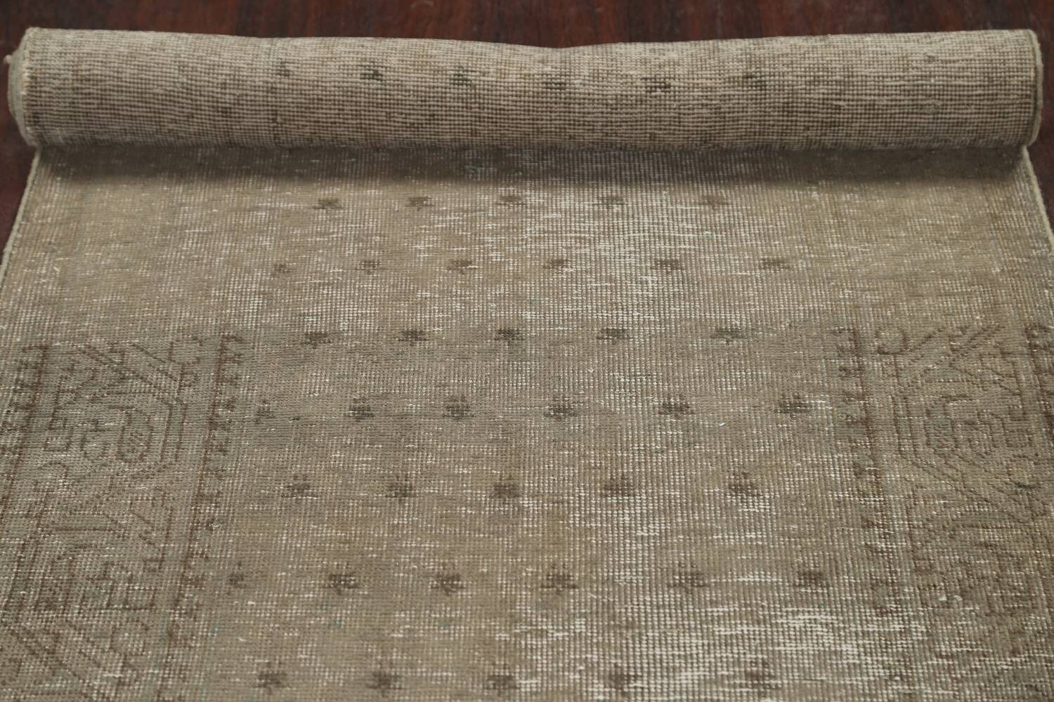 Muted Distressed Tabriz Persian Runner Rug 3x13 image 15