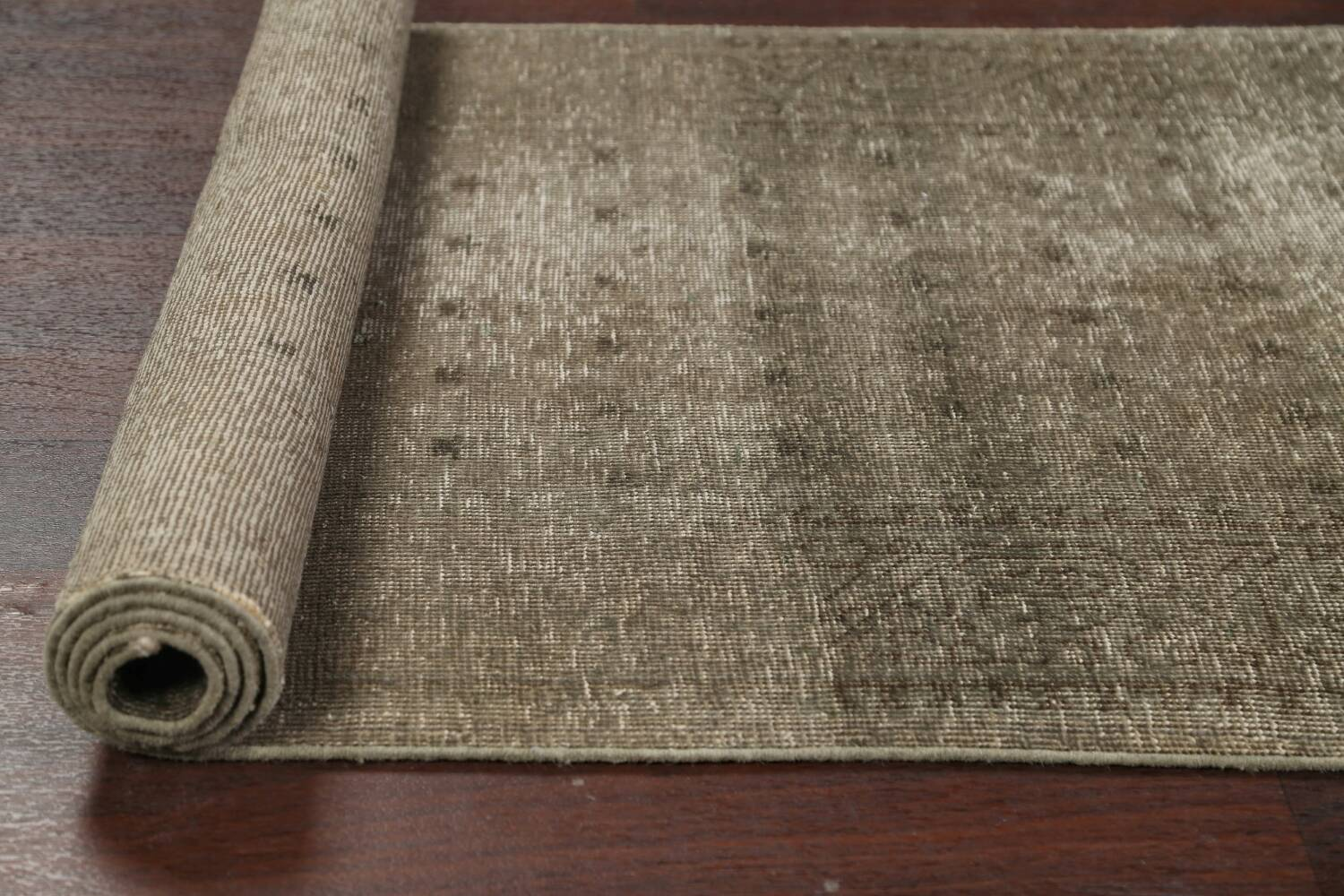 Muted Distressed Tabriz Persian Runner Rug 3x13 image 16