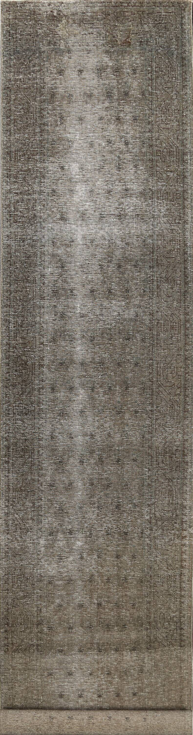 Muted Distressed Tabriz Persian Runner Rug 3x13 image 1
