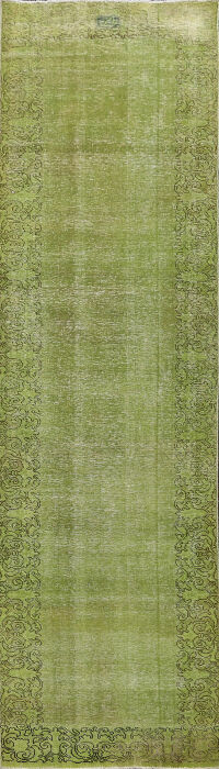Over-dyed Green Tabriz Persian Runner Rug 3x11