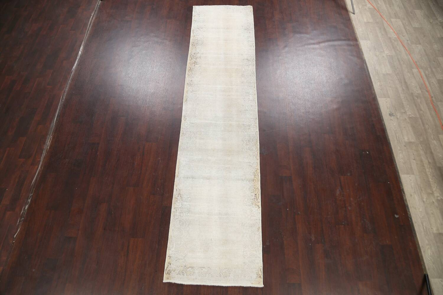 Muted Distressed Tabriz Persian Runner Rug 3x12 image 2