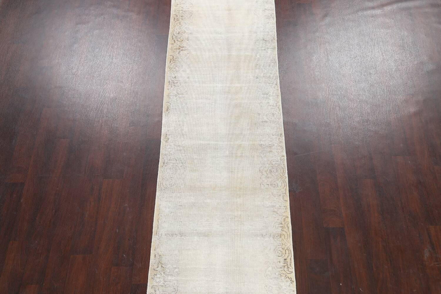 Muted Distressed Tabriz Persian Runner Rug 3x12 image 3