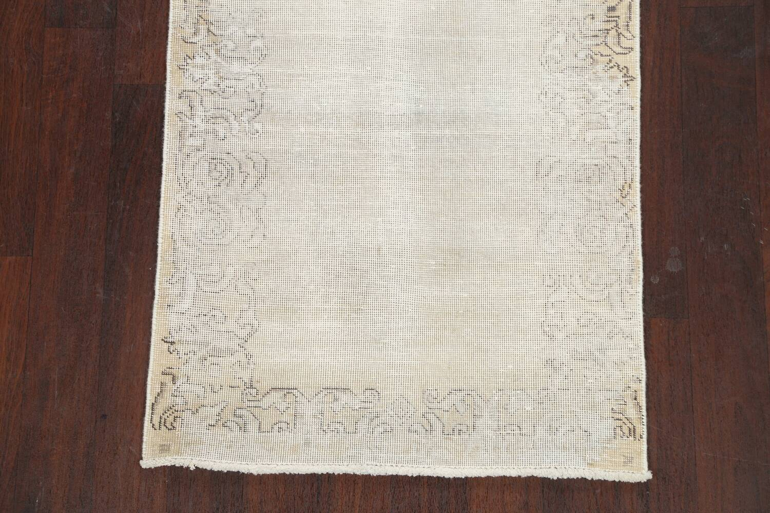 Muted Distressed Tabriz Persian Runner Rug 3x12 image 8