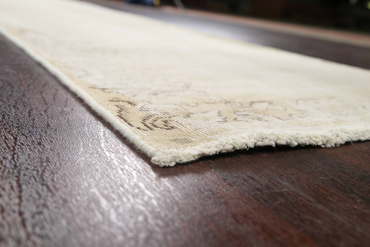 Muted Distressed Tabriz Persian Runner Rug 3x12 image 6
