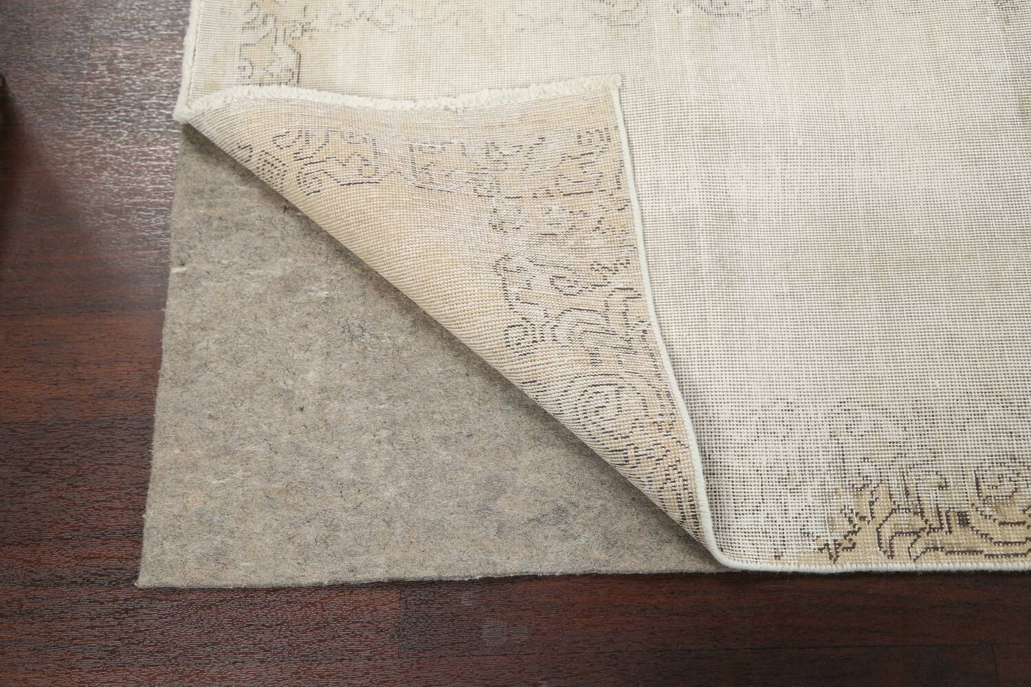 Muted Distressed Tabriz Persian Runner Rug 3x12 image 7
