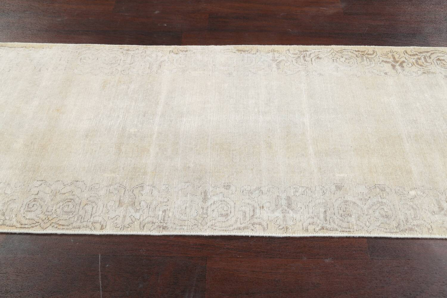 Muted Distressed Tabriz Persian Runner Rug 3x12 image 13