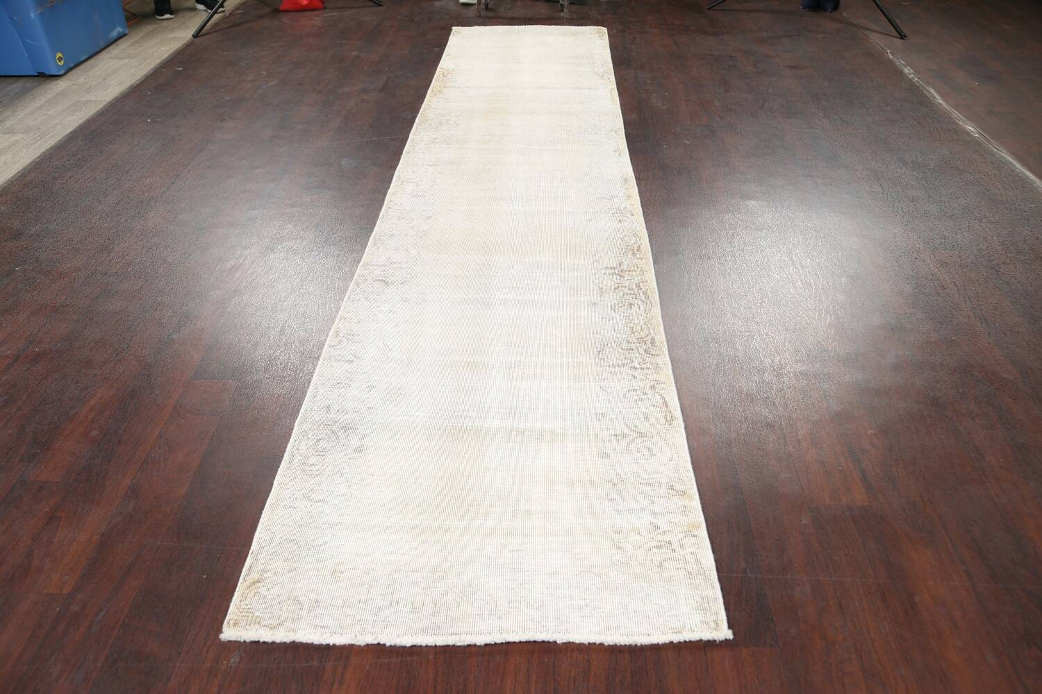 Muted Distressed Tabriz Persian Runner Rug 3x12 image 14