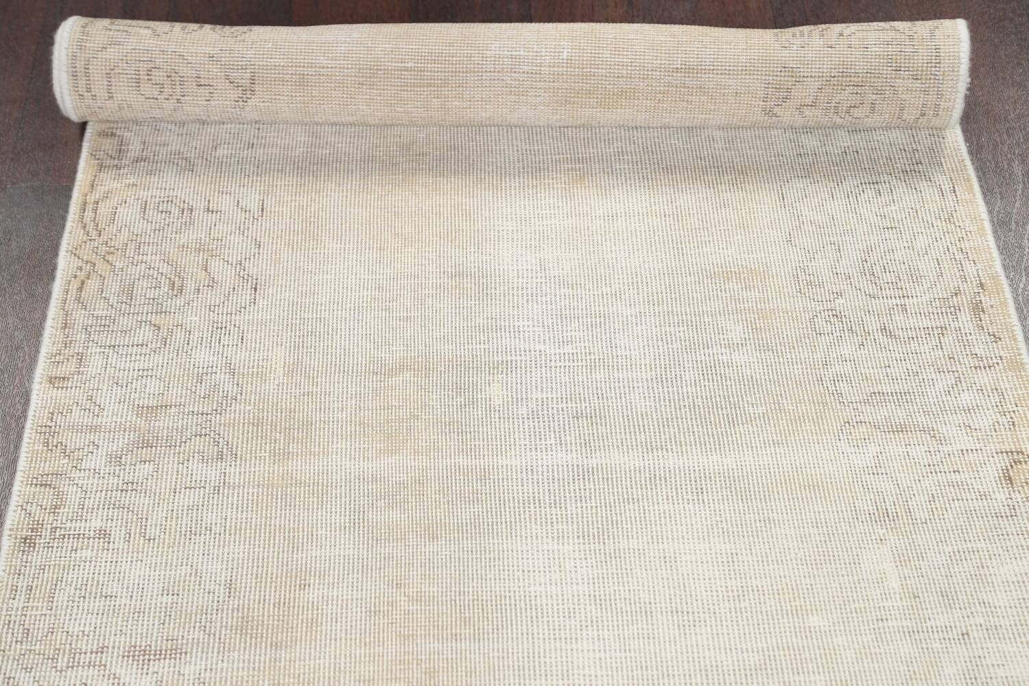 Muted Distressed Tabriz Persian Runner Rug 3x12 image 15