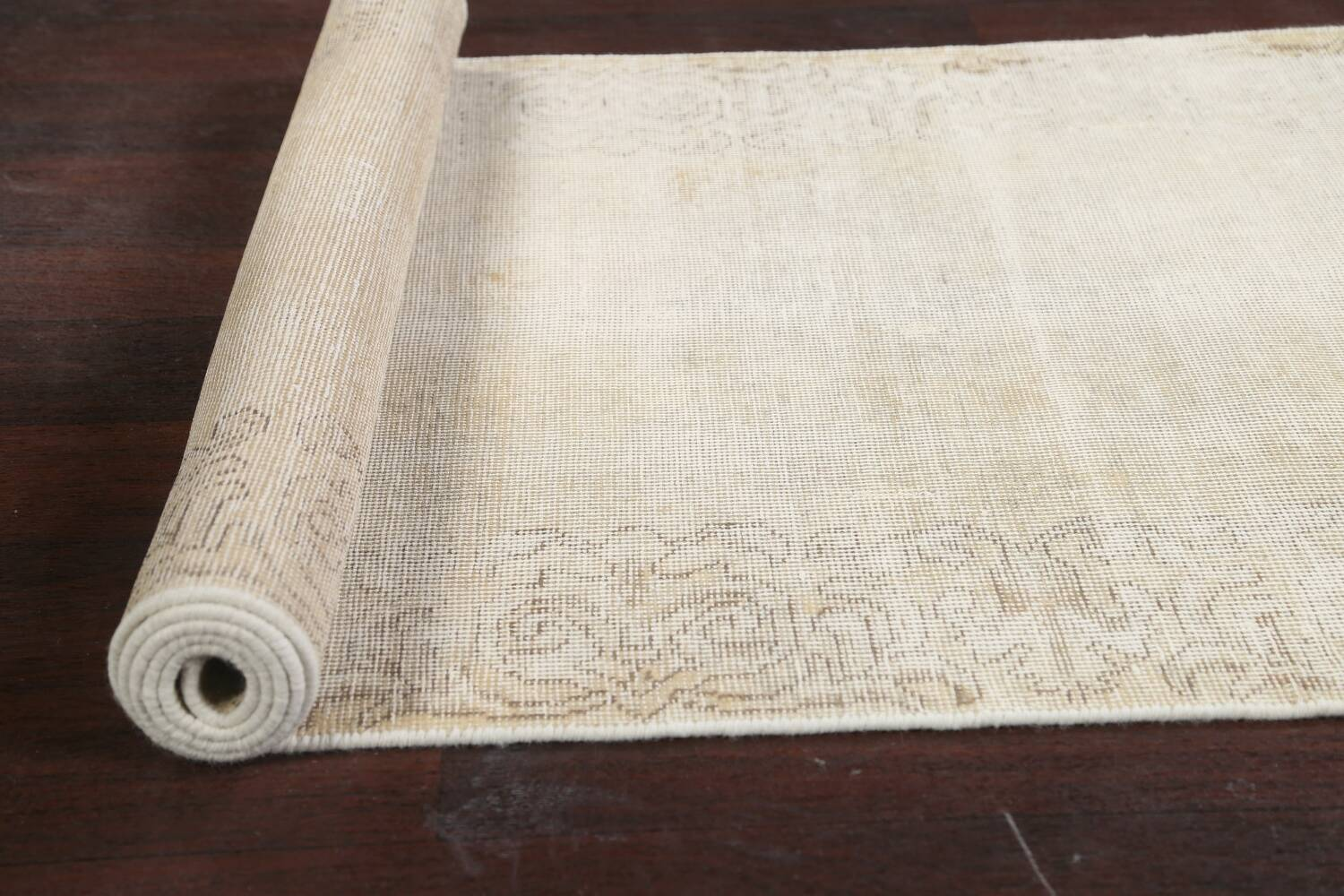 Muted Distressed Tabriz Persian Runner Rug 3x12 image 16