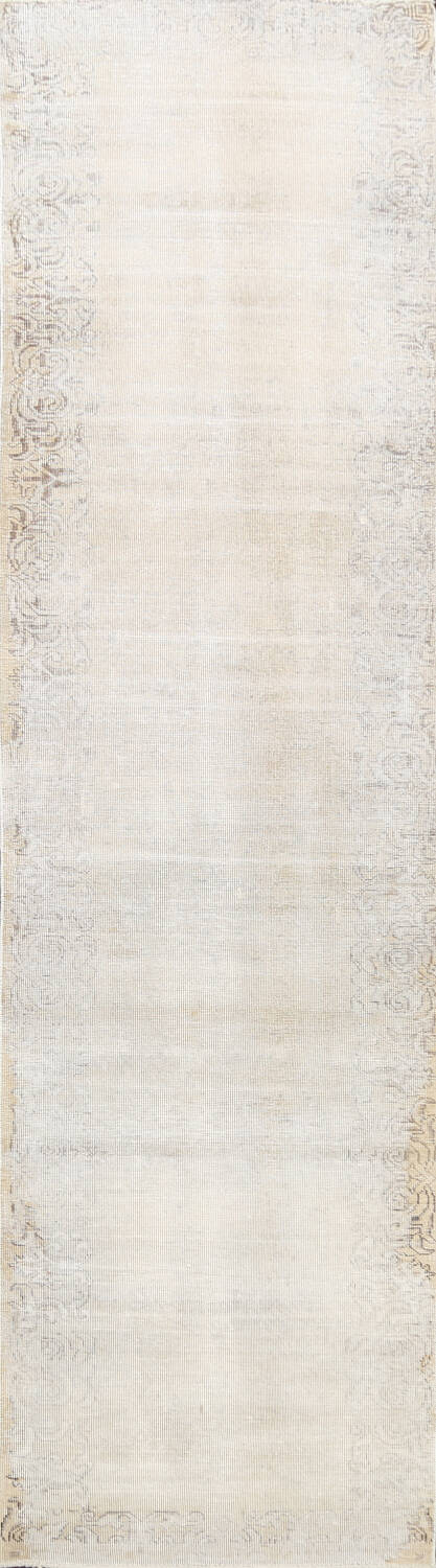 Muted Distressed Tabriz Persian Runner Rug 3x12 image 1