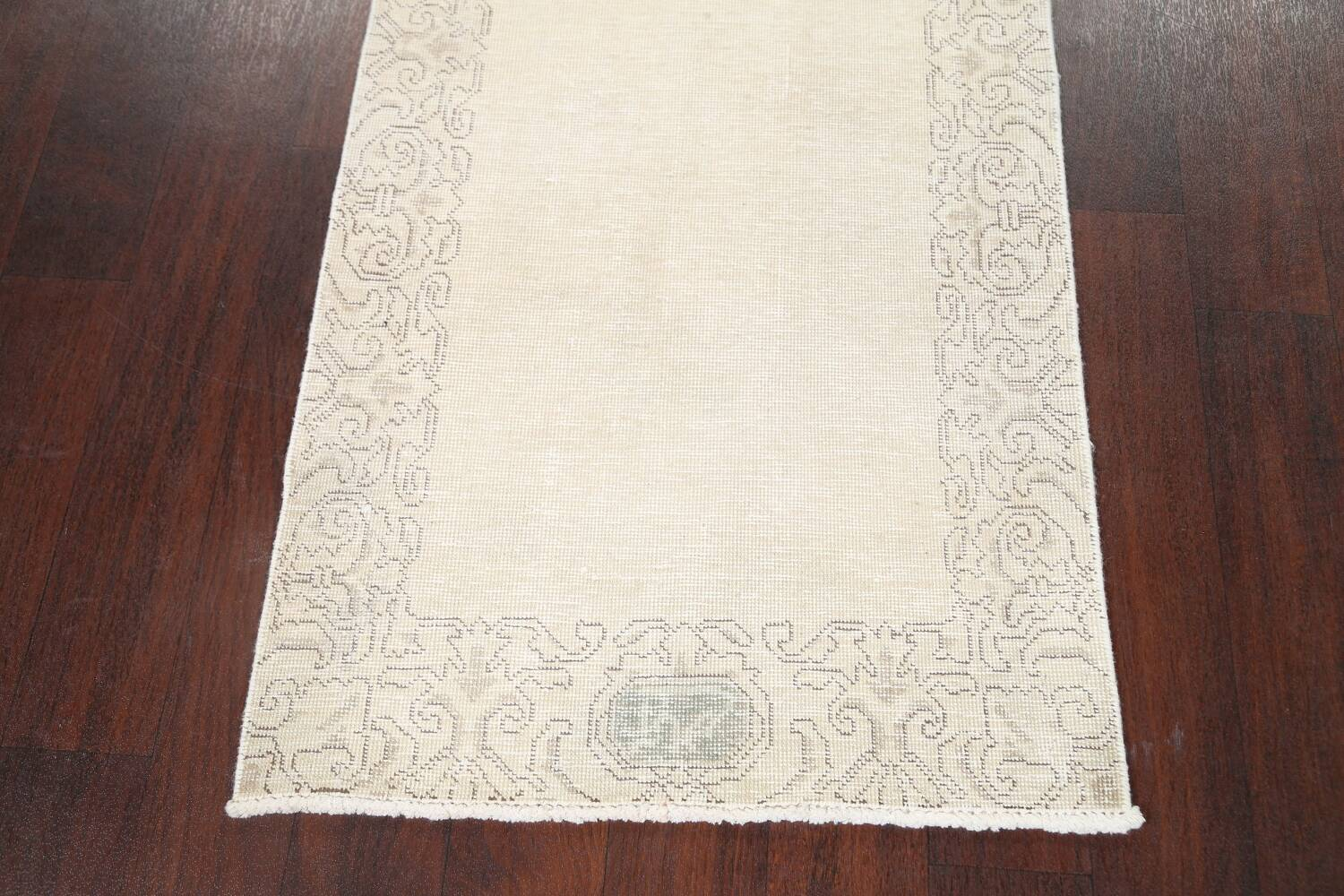 Muted Distressed Tabriz Persian Runner Rug 2x22 image 8