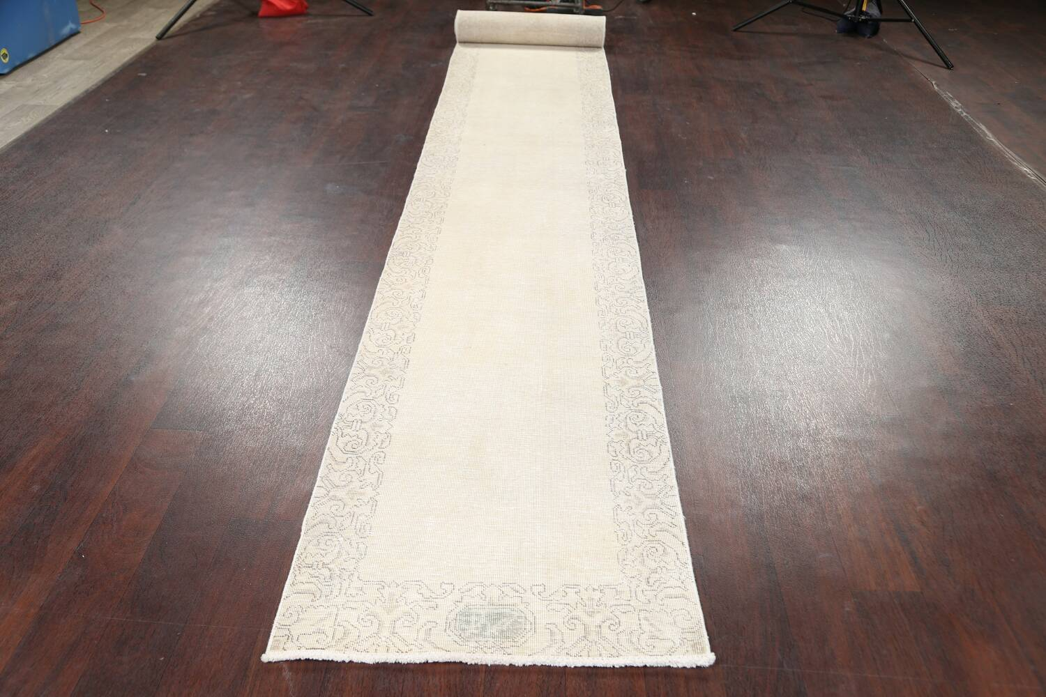 Muted Distressed Tabriz Persian Runner Rug 2x22 image 17