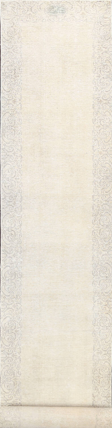 Muted Distressed Tabriz Persian Runner Rug 2x22 image 1