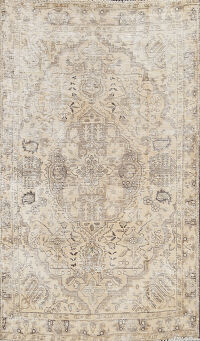 Distressed Geometric Tabriz Persian Area Rug 3x5