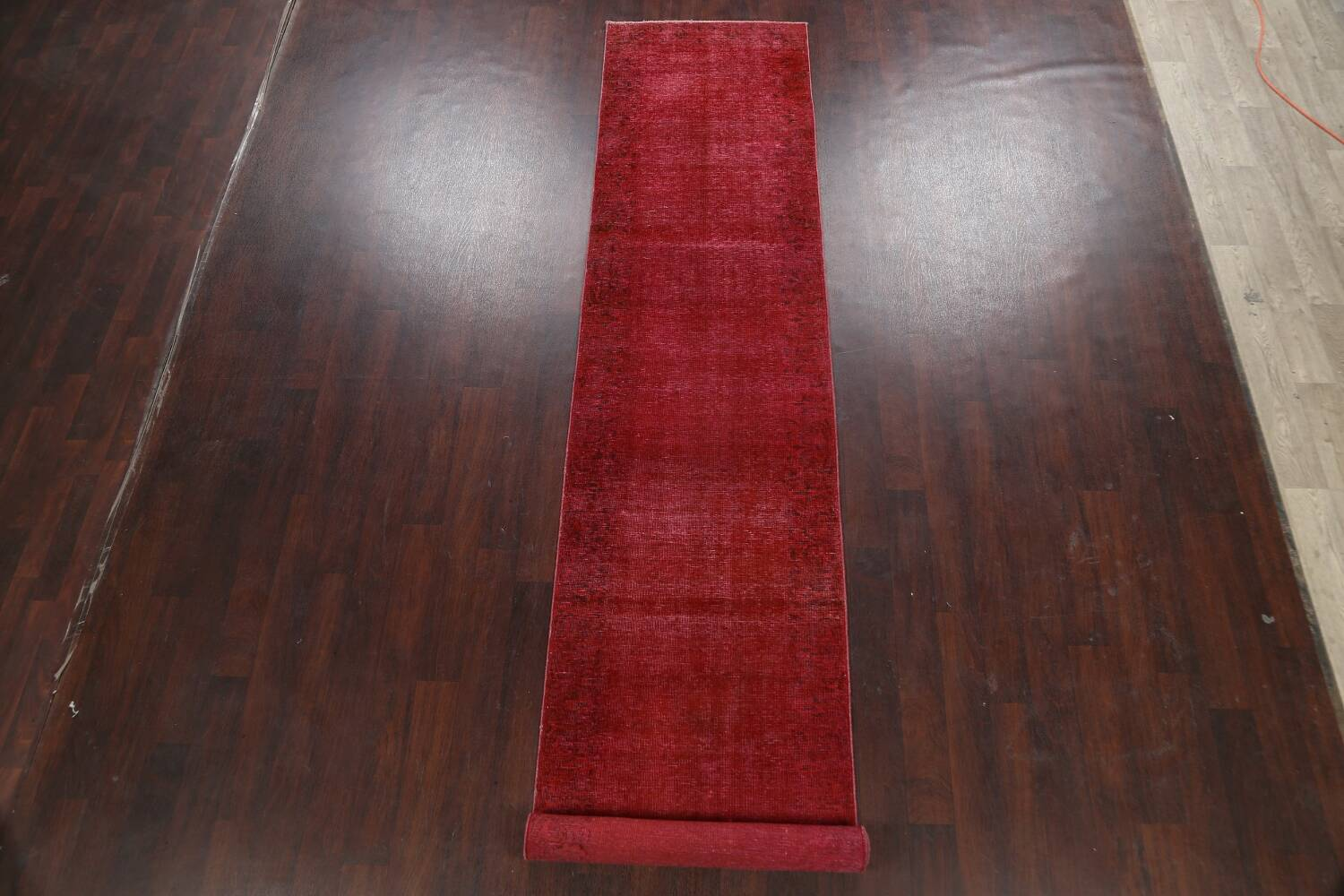 Over-dyed Red Tabriz Persian Runner Rug 3x16 image 2