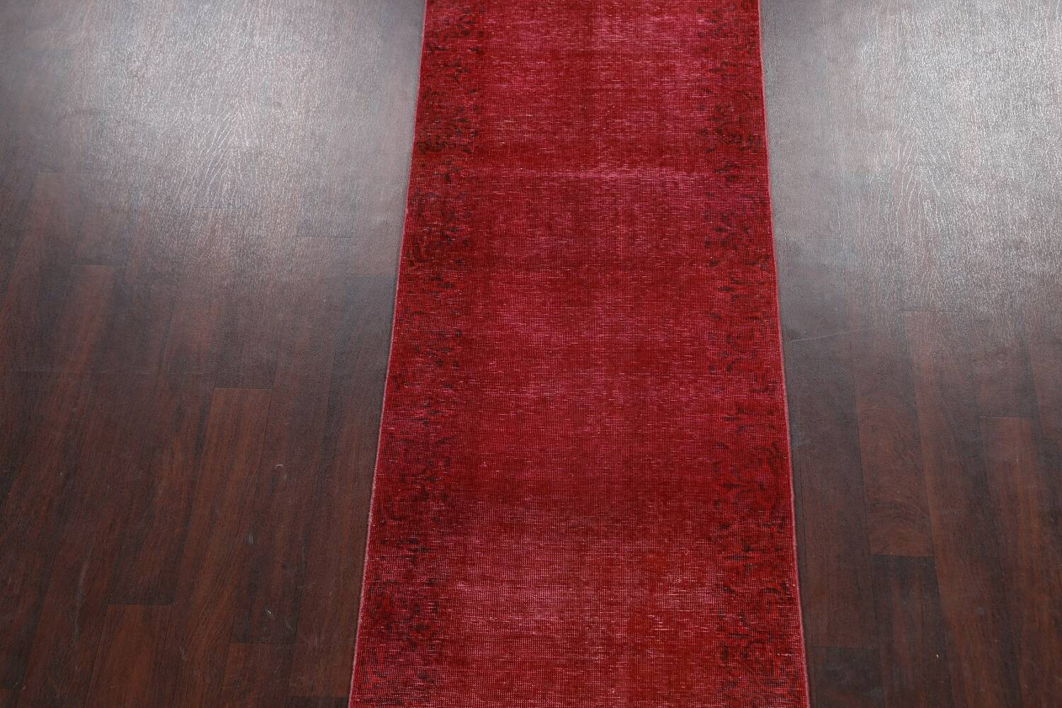 Over-dyed Red Tabriz Persian Runner Rug 3x16 image 3