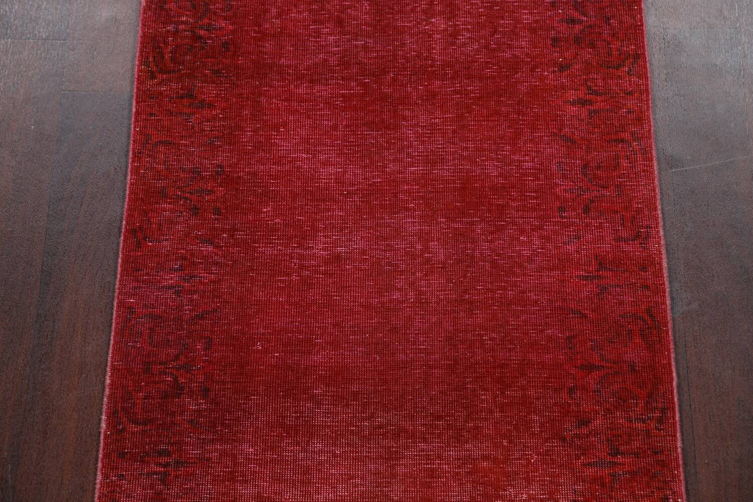 Over-dyed Red Tabriz Persian Runner Rug 3x16 image 4