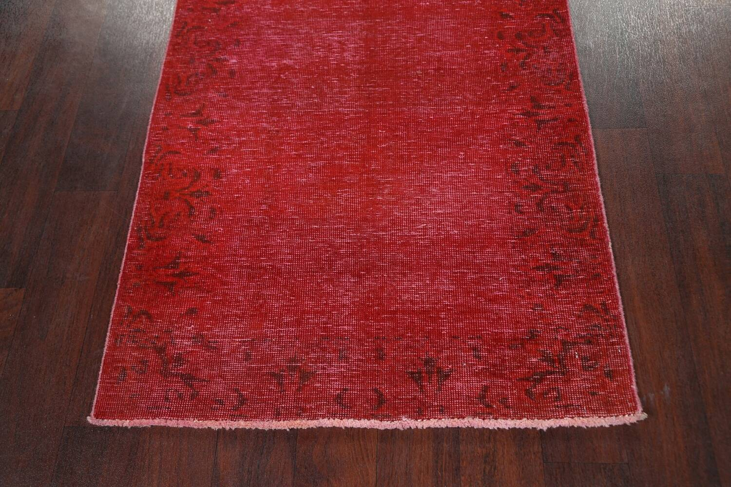 Over-dyed Red Tabriz Persian Runner Rug 3x16 image 8