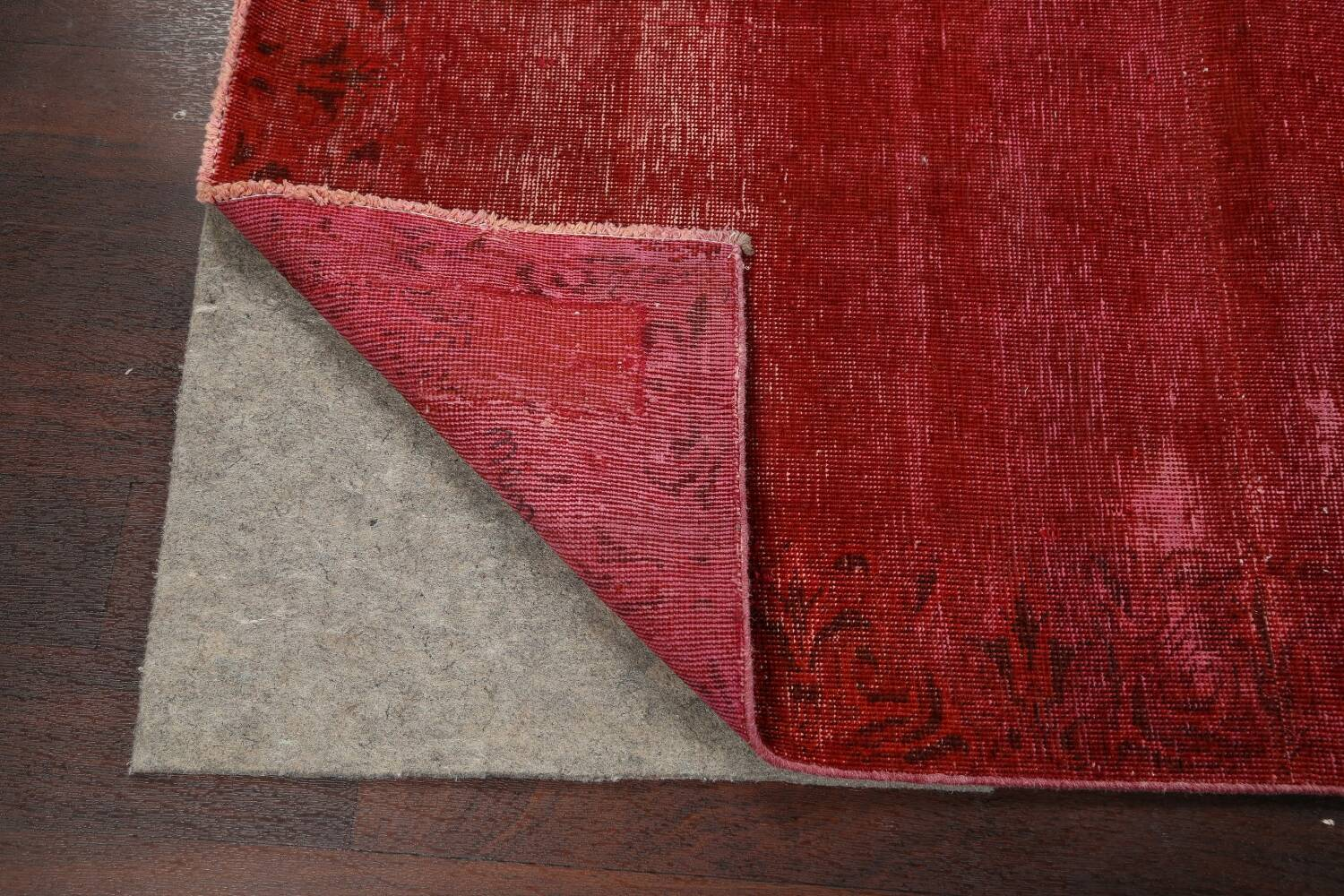 Over-dyed Red Tabriz Persian Runner Rug 3x16 image 7