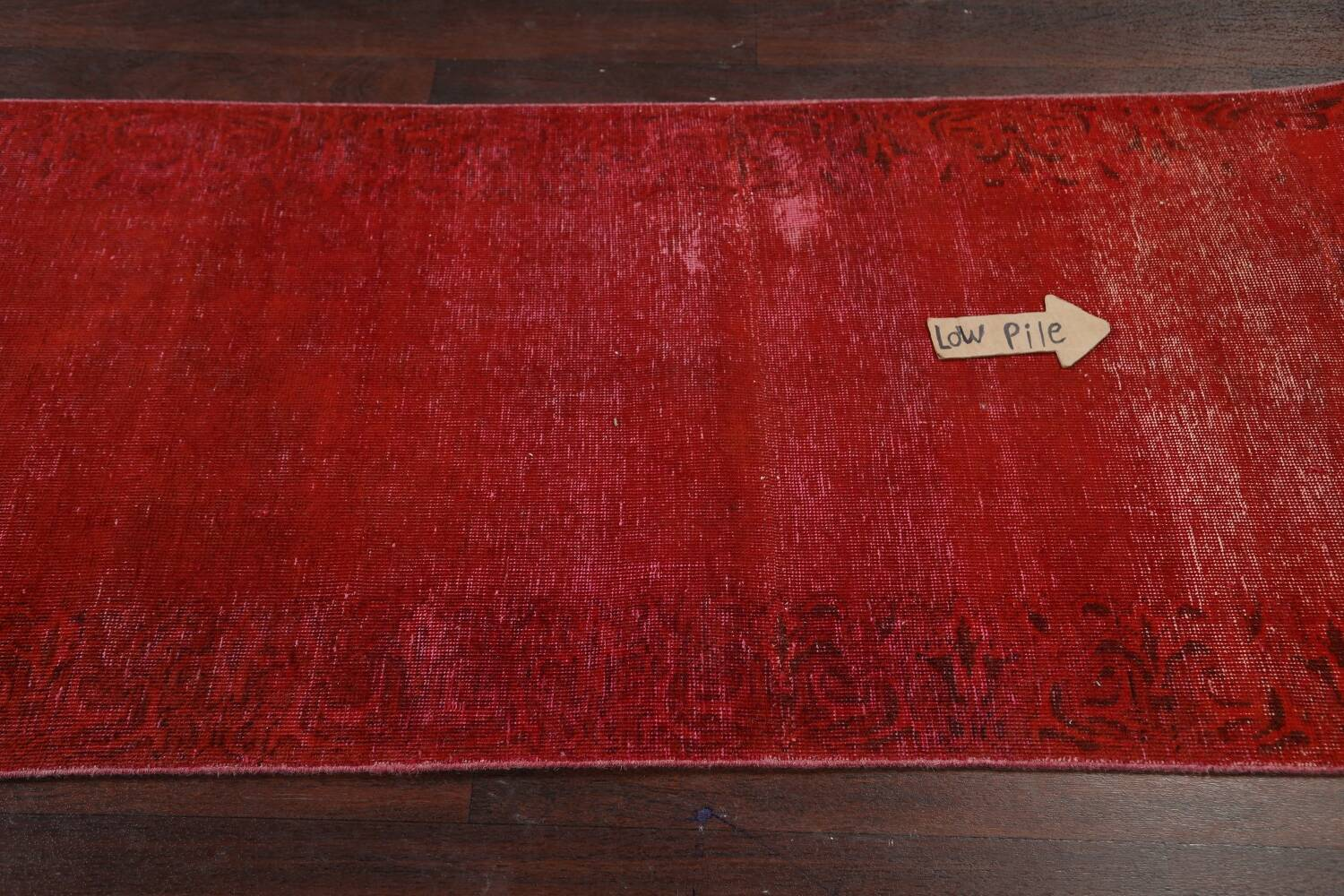 Over-dyed Red Tabriz Persian Runner Rug 3x16 image 11