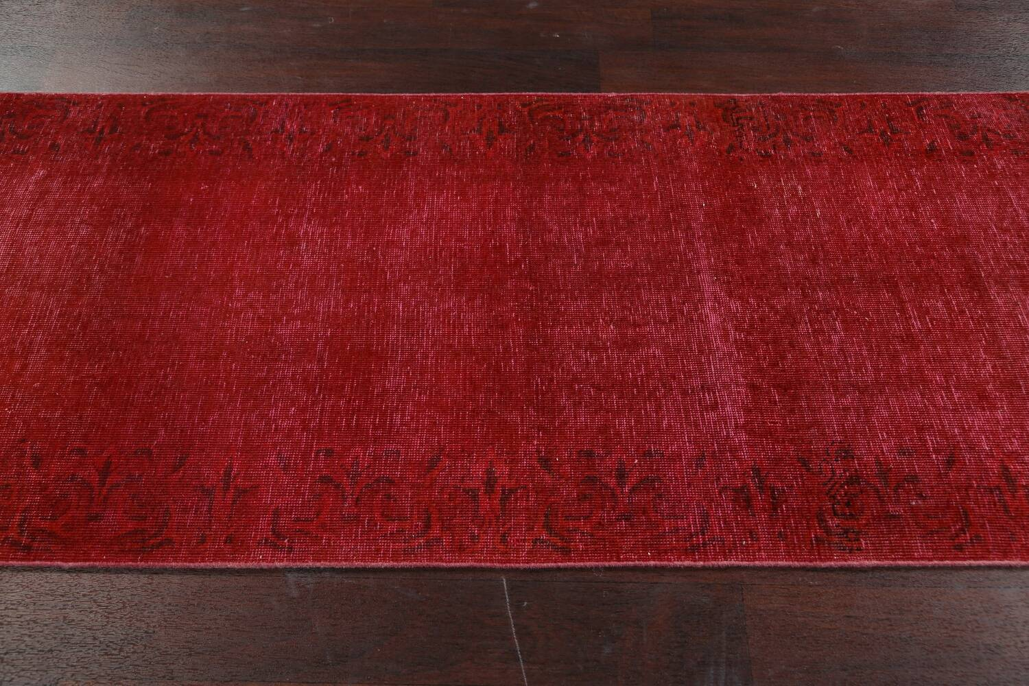 Over-dyed Red Tabriz Persian Runner Rug 3x16 image 13