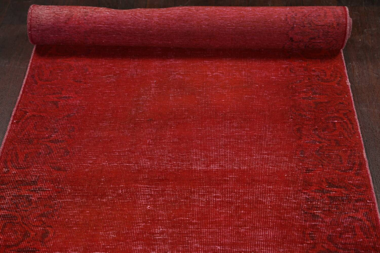 Over-dyed Red Tabriz Persian Runner Rug 3x16 image 15