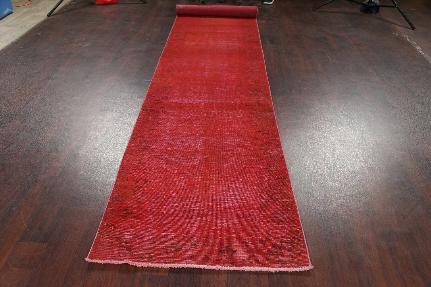 Over-dyed Red Tabriz Persian Runner Rug 3x16 image 14