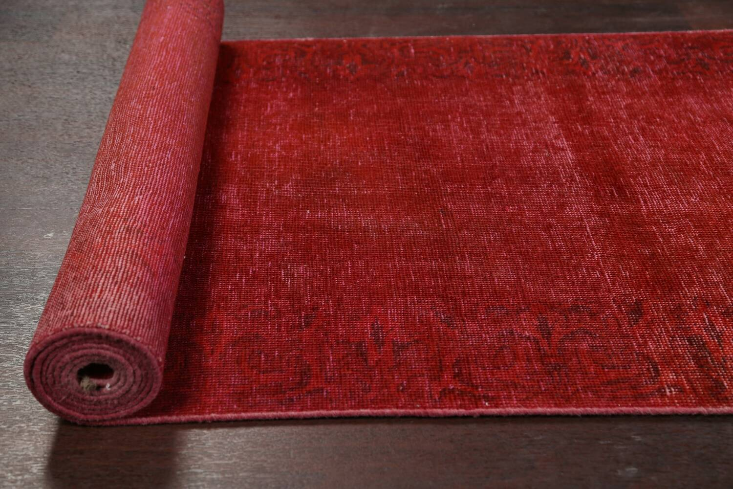 Over-dyed Red Tabriz Persian Runner Rug 3x16 image 16