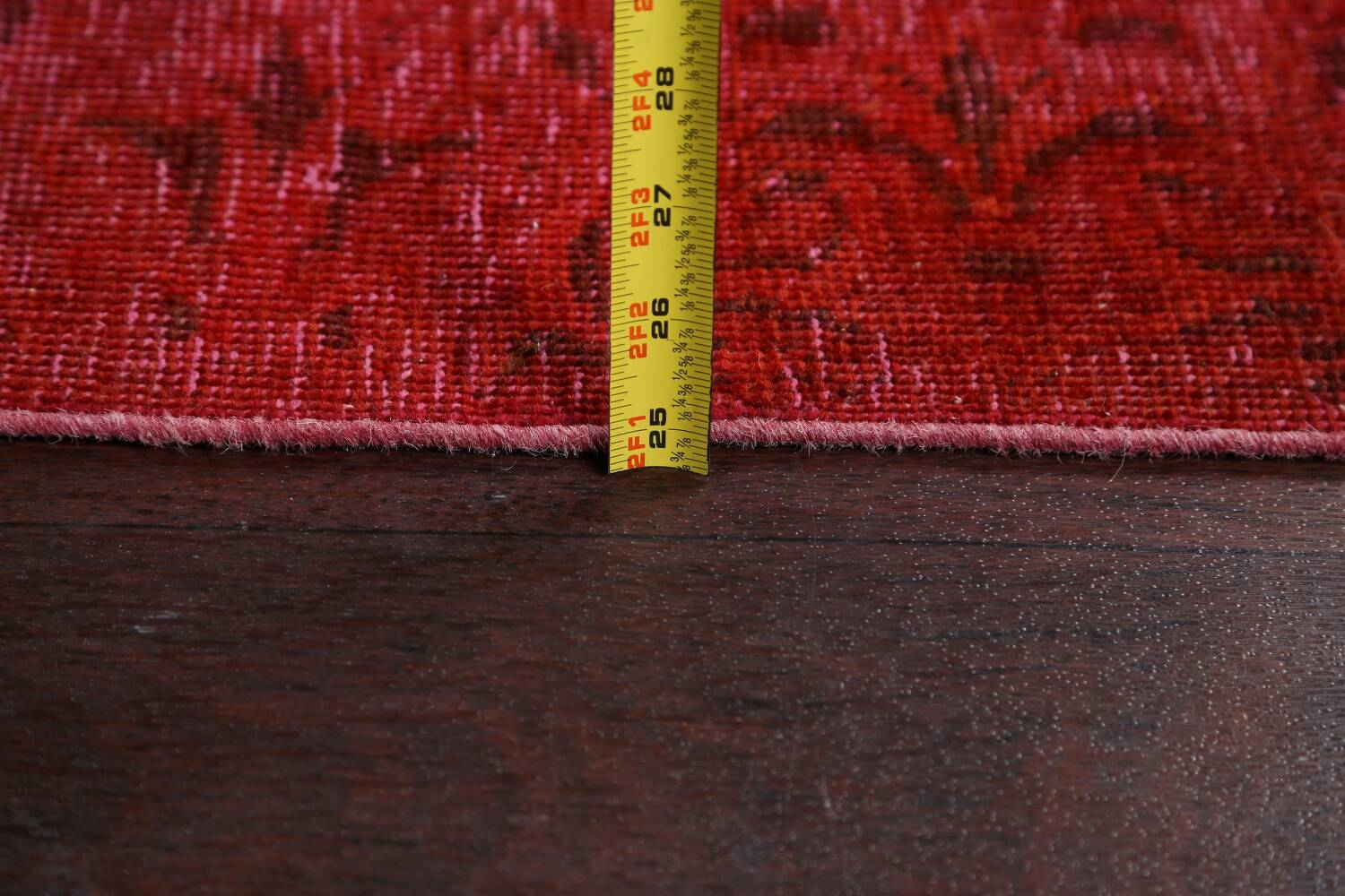 Over-dyed Red Tabriz Persian Runner Rug 3x16 image 18