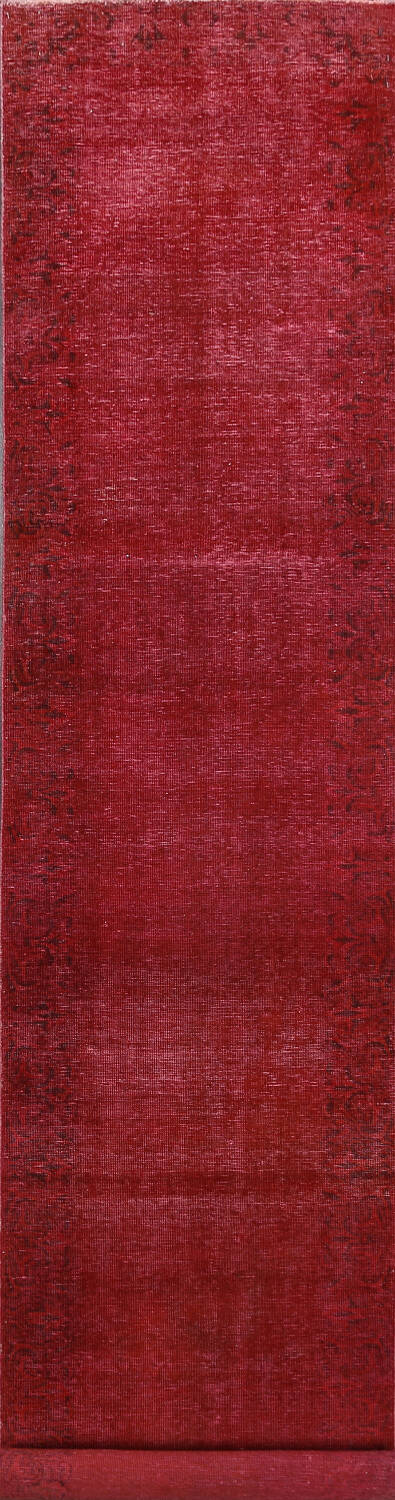 Over-dyed Red Tabriz Persian Runner Rug 3x16 image 1