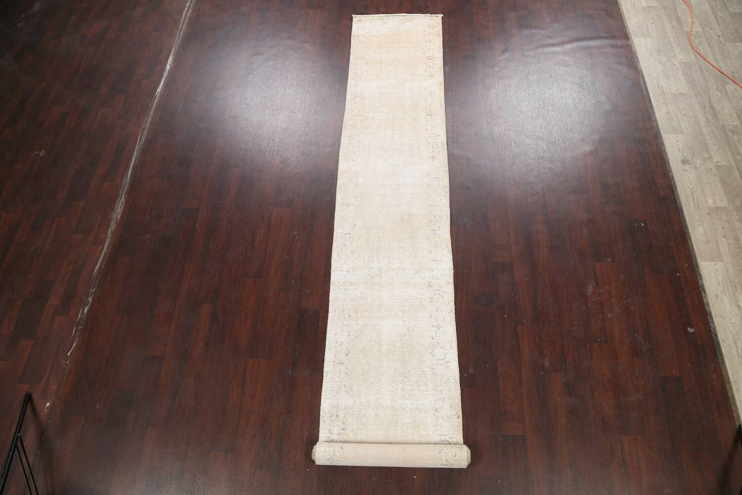 Muted Distressed Tabriz Persian Runner Rug 2x15 image 2
